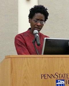 Jacqueline Woodson speaks at Penn State Harrisburg in September 2014.