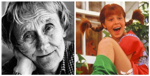 Author Astrid Lindgren and a movie version of Pippi Longstocking
